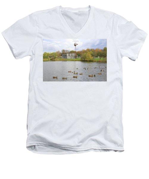 Men's V-Neck T-Shirt featuring the digital art Bedford Village by Sharon Batdorf