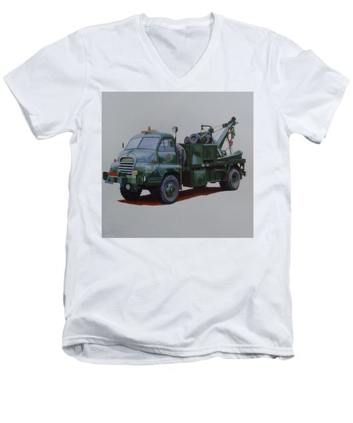 Men's V-Neck T-Shirt featuring the painting Bedford Wrecker Afs by Mike Jeffries