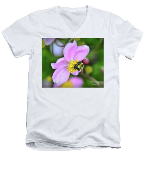 Men's V-Neck T-Shirt featuring the photograph Bee And Japanese Anemone by Kerri Farley