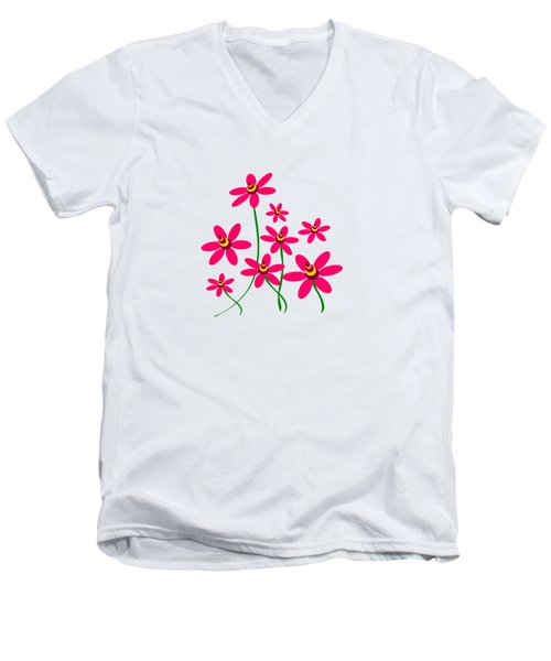 Bee Flowers Men's V-Neck T-Shirt
