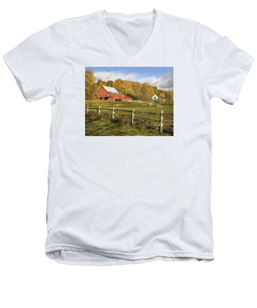 Men's V-Neck T-Shirt featuring the photograph Bee Hive Farm, West Windsor, Vt by Betty Denise
