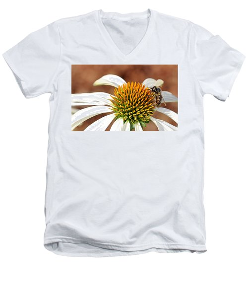 Men's V-Neck T-Shirt featuring the photograph Bee In The Echinacea  by AJ Schibig