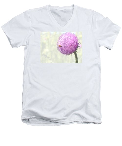 Bee On Giant Thistle Men's V-Neck T-Shirt