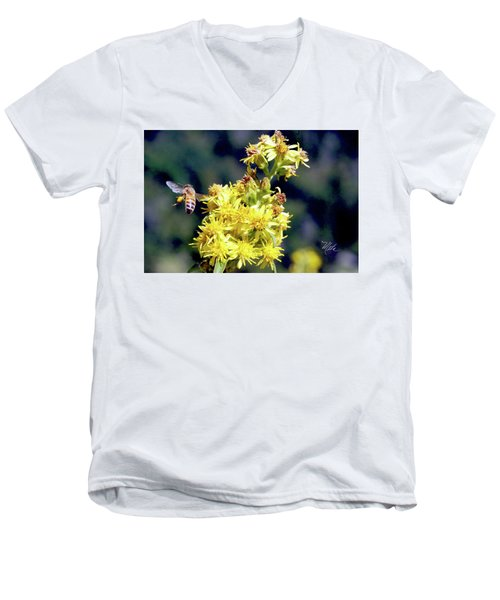 Men's V-Neck T-Shirt featuring the photograph Bee On Goldenrod by Meta Gatschenberger