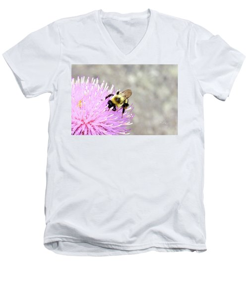 Men's V-Neck T-Shirt featuring the photograph Bee On Pink Bull Thistle by Meta Gatschenberger
