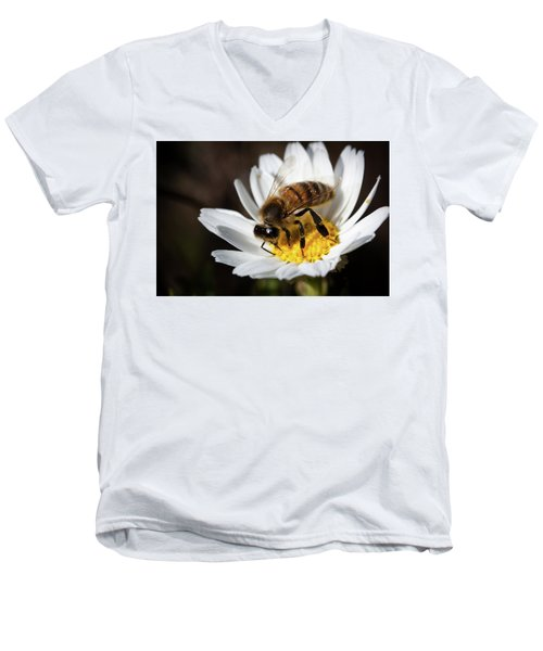 Men's V-Neck T-Shirt featuring the photograph Bee On The Flower by Bruno Spagnolo