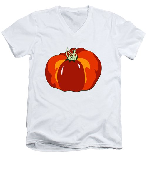 Men's V-Neck T-Shirt featuring the digital art Beefsteak Tomato by MM Anderson