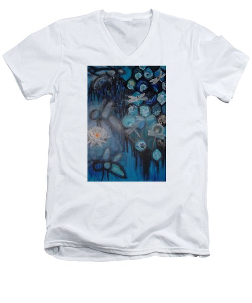 Men's V-Neck T-Shirt featuring the digital art Beehive Blues by Diana Riukas