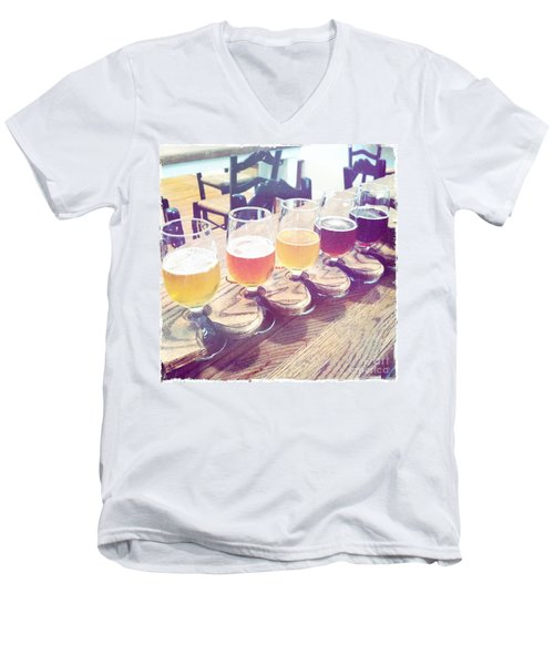 Men's V-Neck T-Shirt featuring the photograph Beer Flight by Nina Prommer