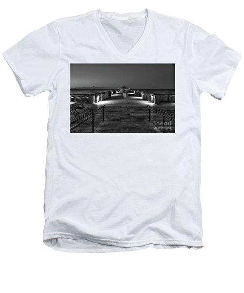 Men's V-Neck T-Shirt featuring the photograph Before Dawn Folly Beach Pier Charleston Sc Art by Reid Callaway