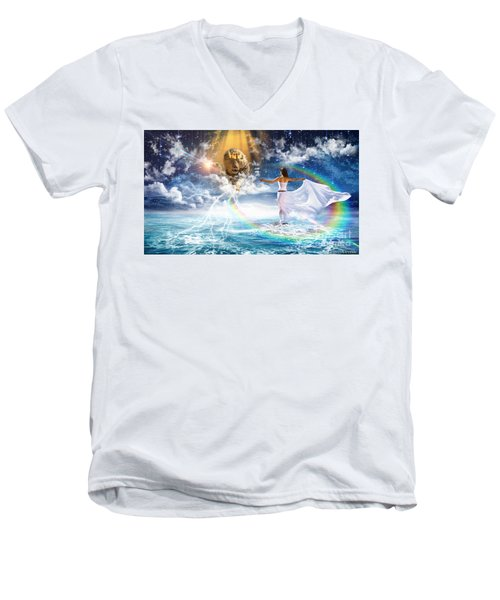 Men's V-Neck T-Shirt featuring the digital art Behold, He Is Coming  by Dolores Develde