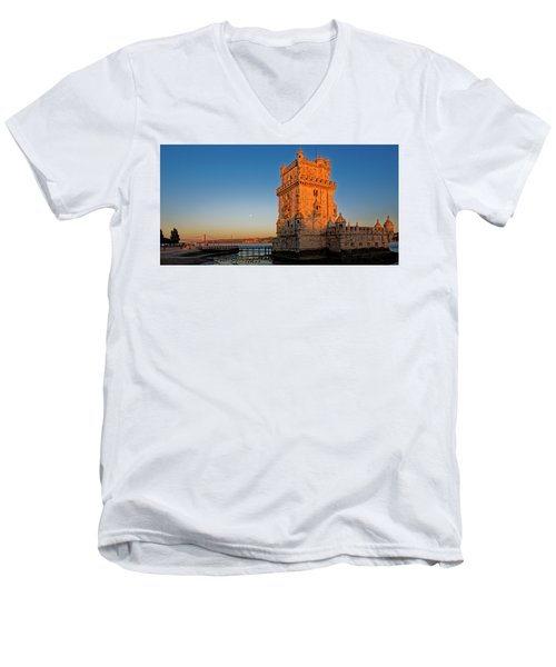 Belem Tower And The Moon Men's V-Neck T-Shirt