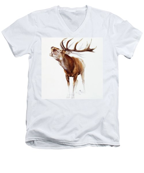 Belling Stag Watercolor Men's V-Neck T-Shirt
