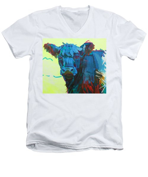 Belted Galloway Cow On Dartmoor Men's V-Neck T-Shirt