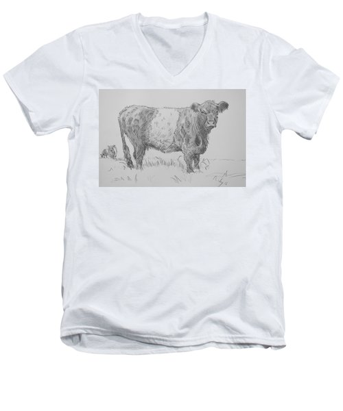 Belted Galloway Cow Pencil Drawing Men's V-Neck T-Shirt
