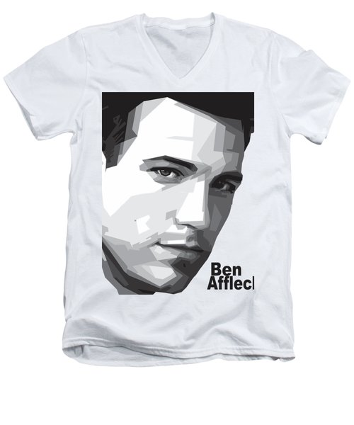 Ben Affleck Portrait Art Men's V-Neck T-Shirt by Madiaz Roby