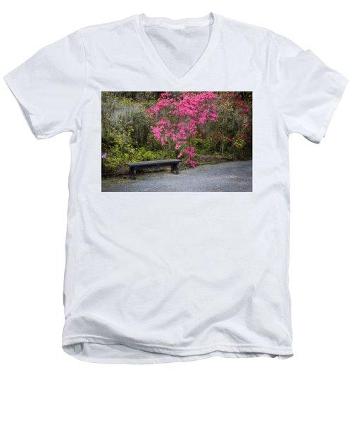 Bench In Azalea Garden Men's V-Neck T-Shirt