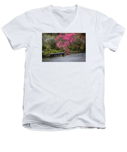 Bench In Azalea Garden Men's V-Neck T-Shirt
