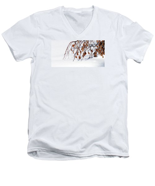 Men's V-Neck T-Shirt featuring the photograph Bending With Silent Reach by Linda Shafer