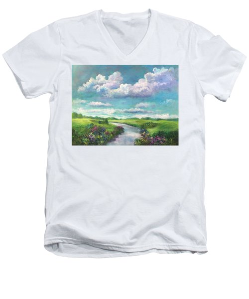 Beneath The Clouds Of Paradise Men's V-Neck T-Shirt by Randy Burns