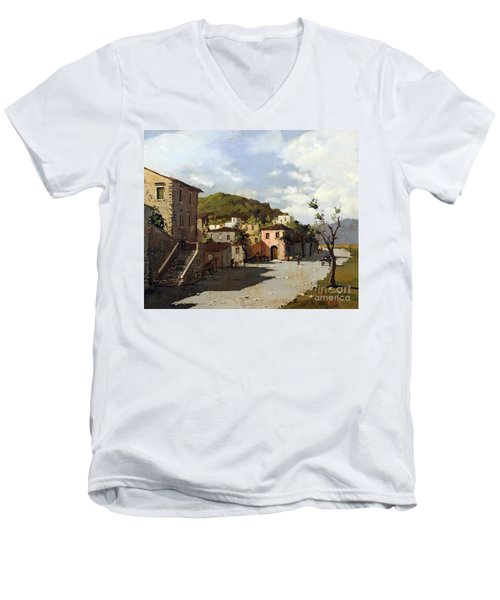 Men's V-Neck T-Shirt featuring the painting Provincia Di Benevento-italy Small Town The Road Home by Rosario Piazza