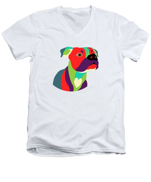 Bennie The Boxer Dog - Wpap Men's V-Neck T-Shirt by SharaLee Art
