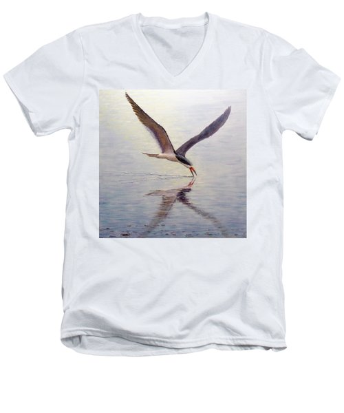 Black Skimmer Men's V-Neck T-Shirt by Joe Bergholm