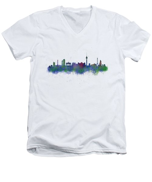 Berlin City Skyline Hq 2 Men's V-Neck T-Shirt by HQ Photo
