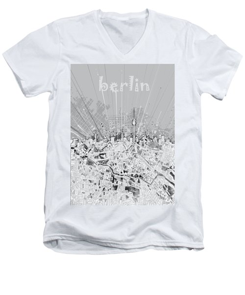 Berlin City Skyline Map 2 Men's V-Neck T-Shirt by Bekim Art
