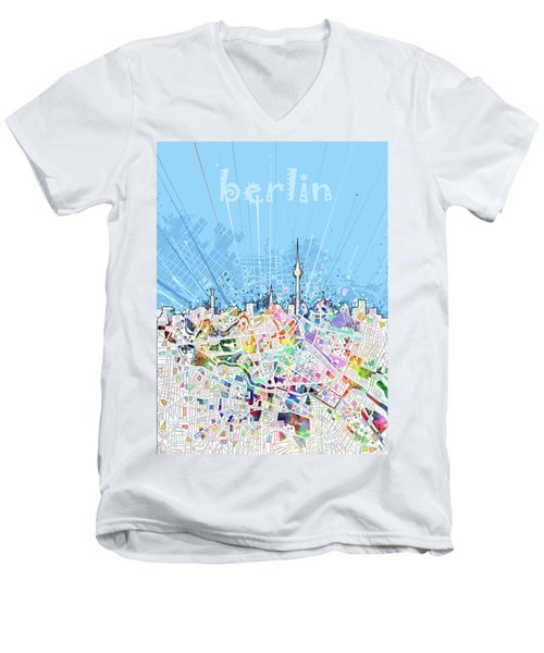 Berlin City Skyline Map Men's V-Neck T-Shirt by Bekim Art
