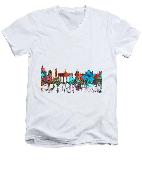 Berlin Germany Skyline  Men's V-Neck T-Shirt by Marlene Watson