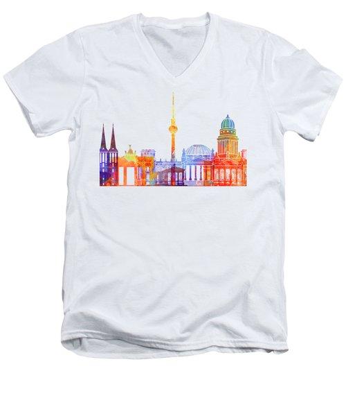 Berlin Landmarks Watercolor Poster Men's V-Neck T-Shirt