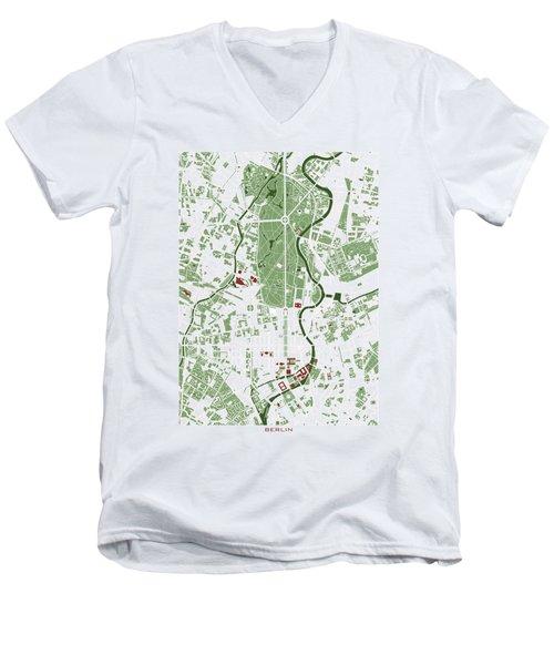 Berlin Minimal Map Men's V-Neck T-Shirt by Jasone Ayerbe- Javier R Recco