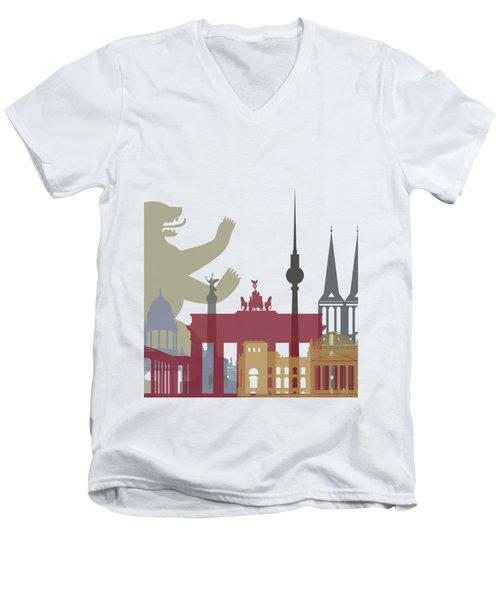 Berlin Skyline Poster Men's V-Neck T-Shirt by Pablo Romero