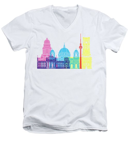 Berlin V2 Skyline Pop Men's V-Neck T-Shirt by Pablo Romero