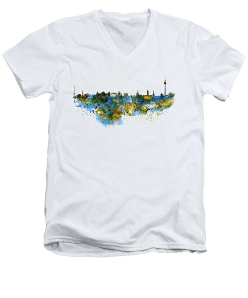 Berlin Watercolor Skyline Men's V-Neck T-Shirt by Marian Voicu