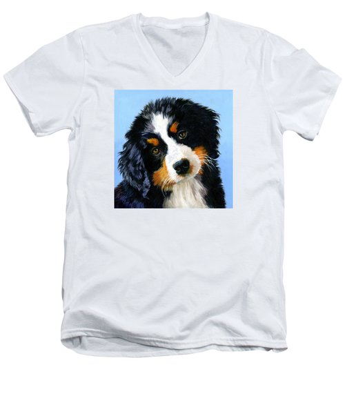Bernese Mountain Puppy Men's V-Neck T-Shirt by Alice Leggett