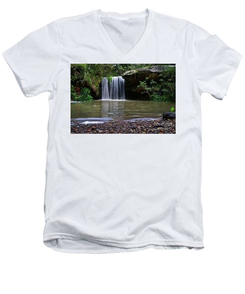Men's V-Neck T-Shirt featuring the photograph Berowra Waterfall by Werner Padarin