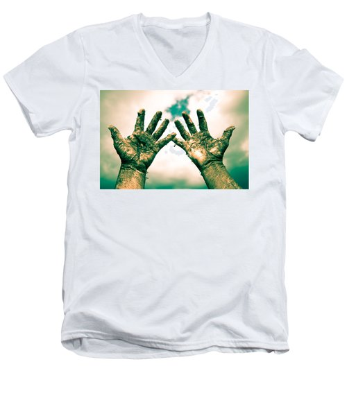 Beseeching Hands Men's V-Neck T-Shirt