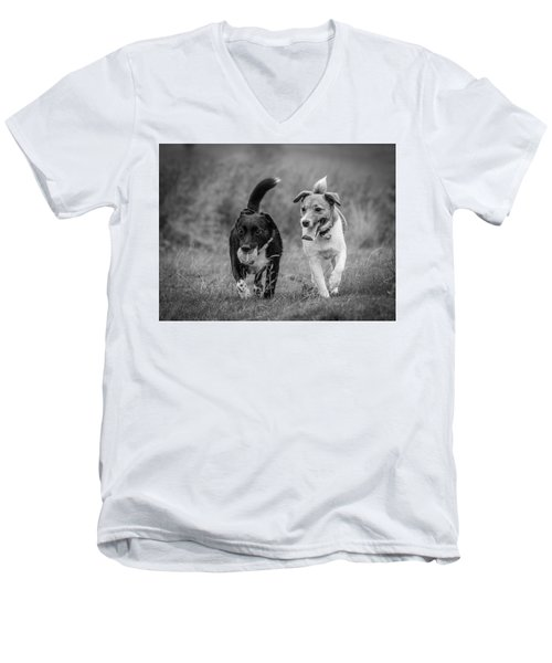 Men's V-Neck T-Shirt featuring the photograph Best Buddies by Nick Bywater