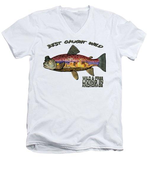 Fishing - Best Caught Wild On Light Men's V-Neck T-Shirt by Elaine Ossipov