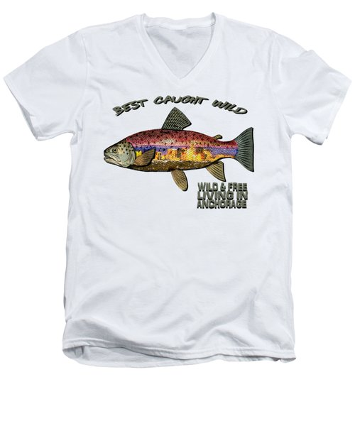 Men's V-Neck T-Shirt featuring the digital art Fishing - Best Caught Wild - On Light No Hat by Elaine Ossipov