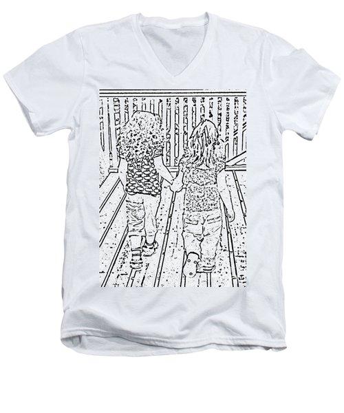 Best Friends Forever Men's V-Neck T-Shirt by Barbara Griffin