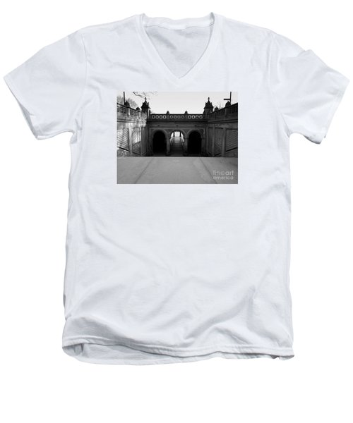 Bethesda Terrace In Central Park - Bw Men's V-Neck T-Shirt by James Aiken