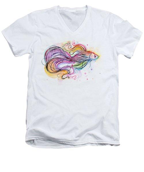 Betta Fish Watercolor Men's V-Neck T-Shirt