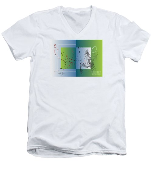 Men's V-Neck T-Shirt featuring the digital art Between Heaven And Me by Leo Symon