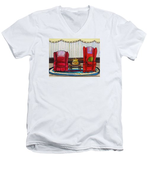 Between Two Reds Men's V-Neck T-Shirt by John Williams