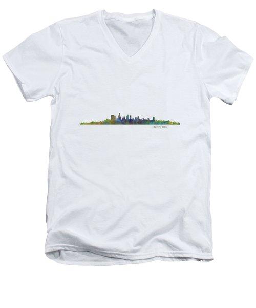 Beverly Hills City In La City Skyline Hq V1 Men's V-Neck T-Shirt by HQ Photo