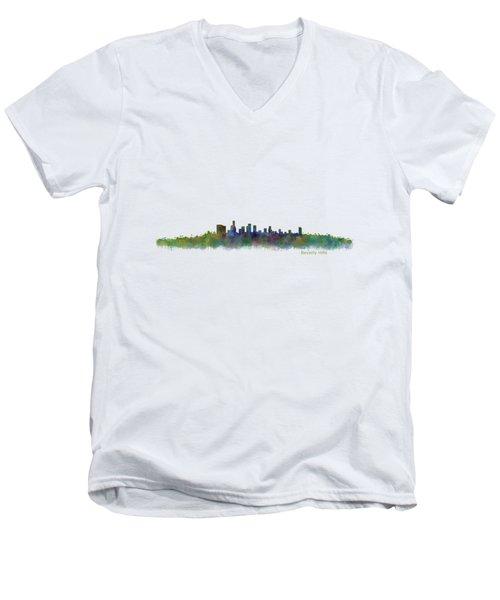 Beverly Hills City In La City Skyline Hq V2 Men's V-Neck T-Shirt by HQ Photo