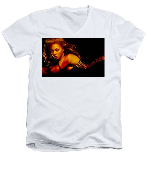 Men's V-Neck T-Shirt featuring the mixed media Beyonce by Marvin Blaine
